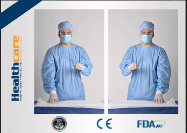 Sterile Disposable Protective Gowns Nonwoven Gowns With Knitted Cuff Medical Blue