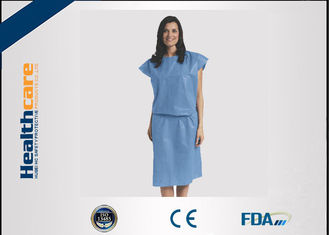 Short Sleeve Disposable Isolation Gowns Non Woven Heavy Blue Medline Gowns Anti Permeate